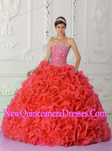 Ball Gown Strapless Red Elegant Quinceanera Dresses with Beading and Ruffles