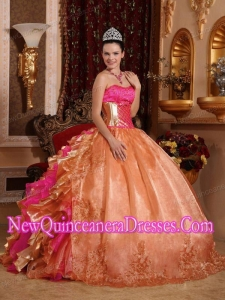Ball Gown Strapless Ruffles Organza Popular Quinceanera Gowns with Embroidery