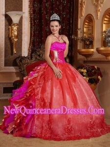 Ball Gown Strapless Ruffles and Beading Embroidery Red Plus Size Quinceanera Dresses