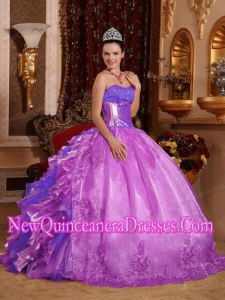 Ball Gown Strapless Ruffles and Beading Lilac Elegant Quinceanera Dresses