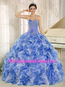 Beaded Bodice and Ruffles Blue and White Fashionable Quinceanera Dresses