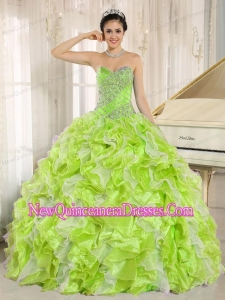Beaded and Ruffles For Yellow Green Plus Size Quinceanera Dresses
