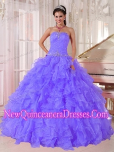 Custom Made Ball Gown Quinceanera Dress with Strapless Purple Organza Beading