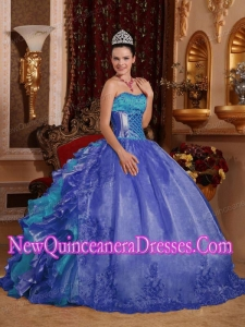 Discount Ball Gown Blue Quinceanera Dress with Strapless Floor-length Organza Embroidery