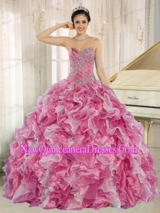 Discount Pink Beaded Bodice and Ruffles For Quinceanera Dresses