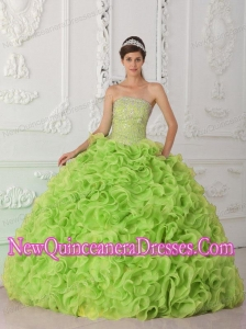 Fashionable Ball Gown Strapless Organza Yellow Green Quinceanera Dresses with Beading