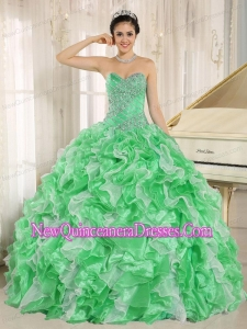Green Beaded and Ruffles For Sweetheart Perfect Quinceanera Dress