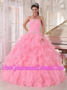 Luxurious Baby Pink Ball Gown Strapless Floor-length Organza Beading Quinceanera Dresses
