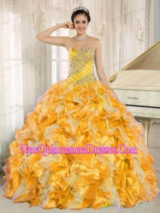 Luxurious Yellow Quinceanera Dress with Beaded and Ruffles