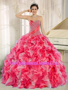 New Style Red and White Quinceanera Dress with Beadeing and Ruffles