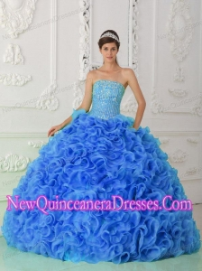 Organza Ball Gown Beaded Royal Blue Popular Quinceanera Gowns with Strapless