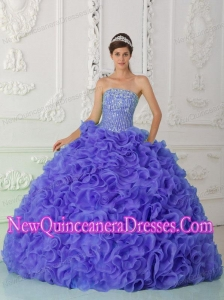 Organza Purple New Style Quinceanera Dresses with Ball Gown Strapless Beading