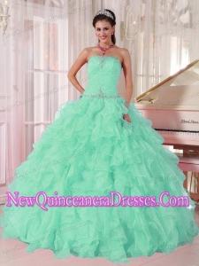 Perfect Aqua Blue Ball Gown Strapless Ruching Organza Beading Quinceanera Dress