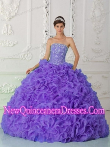 Perfect Ball Gown Strapless Organza Purple Quinceanera Dress with Beading and Ruffles