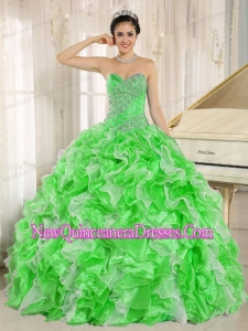 Spring Green Beaded and Ruffles For Elegant Quinceanera Dresses