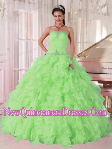 Spring Green Strapless Ruffles and Beading Plus Size Quinceanera Dresses
