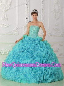 Strapless Organza Beading Ball Gown Discount Quinceanera Dresses in Blue
