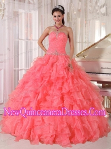 Strapless Watermelon Red Ruffles Beading Discount Quinceanera Dresses