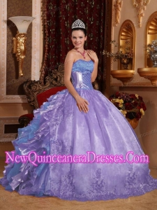 Ball Gown Strapless Ruffles Organza Embroidery Lavender Puffy Sweet 16 Gowns
