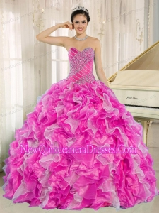 Beaded and Ruffles Decorate for Simple Quinceanera Dresses in Hot Pink