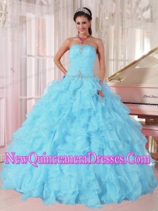 Light Blue Ball Gown Strapless Ruffles Organza Beading Simple Quinceanera Dresses