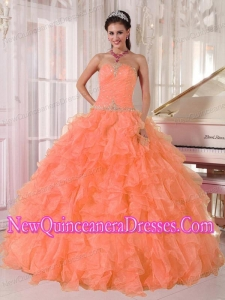 Orange Ball Gown Strapless Organza Puffy Sweet 16 Gowns with Beading and Ruffles