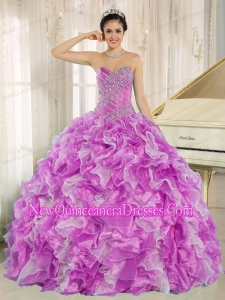 Pretty Beaded and Ruffles Lilac and White Quinceanera Dress for Sweet 15 Dresses
