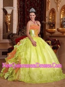 Pretty Spring Green Ball Gown Strapless Floor-length Organza Embroidery Sweet 15 Dresses