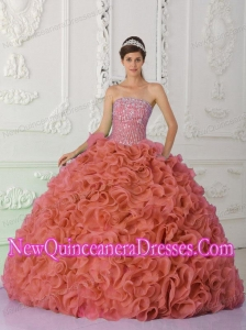 Rust Red Strapless Organza Beading and Ruffled Simple Quinceanera Dresses