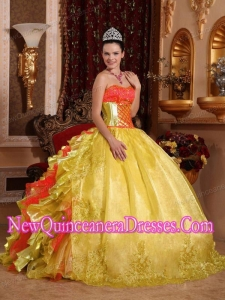 Simple Ball Gown Strapless Rufles Organza Embroidery Gold Quinceanera Dress