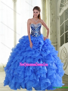 2015 Top Selle Beading and Ruffles Strapless Quinceanera Dresses in Blue
