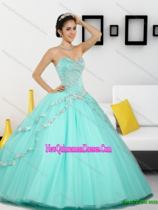 2015 Top Seller Beading Sweetheart Quinceanera Dresses in Apple Green