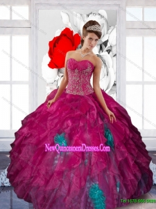 2015 Top Seller Sweetheart Appliques and Ruffles Quinceanera Dresses in Multi Color