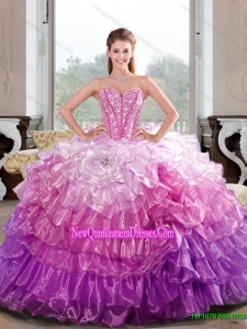 2015 Unique Beading and Ruffled Layers Multi Color Dresses for Quinceanera