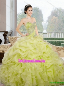 2015 Wonderful Sweetheart Yellow Green Quinceanera Dresses with Ruffles and Pick Ups