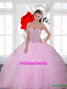Beautiful Beading and Ruffles Sweetheart 2015 Quinceanera Dresses in Baby Pink