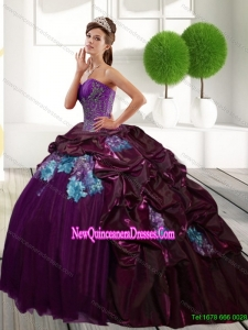 Top Seller Sweetheart 2015 Quinceanera Dresses with Appliques and Pick Ups