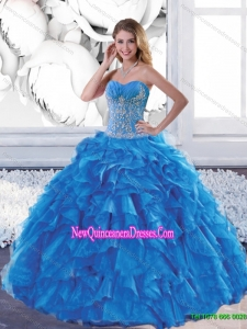 Top Seller Sweetheart Teal Quinceanera Dresses with Appliques and Ruffles