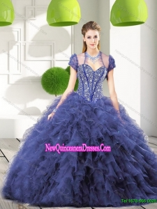 Trendy Navy Blue Quinceanera Gown with Beading and Ruffles for 2015