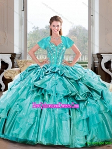 Wonderful Sweetheart Beading and Ruffles Turquoise Quinceanera Dresses for 2015 Spring