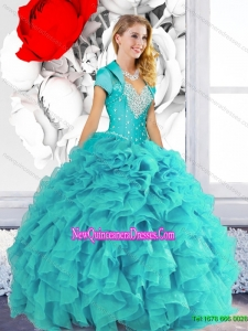 2015 Classical Sweetheart Quinceanera Dresses with Beading and Ruffles