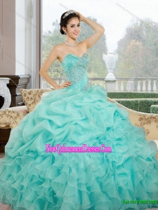 2015 Custom Made Sweetheart Quinceanera Dresses with Ruffles and Pick Ups