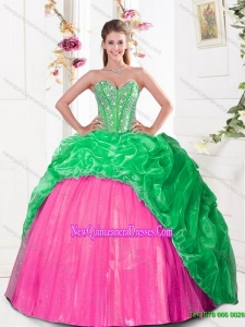 2015 New Style Sweetheart Quinceanera Gown with Beading and Pick Ups