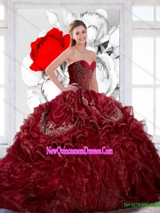 Custom Made Sweetheart Wine Red 2015 Quinceanera Dress with Appliques and Ruffles