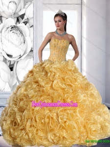 Elegant Strapless Gold 2015 Quinceanera Dress with Beading and Rolling Flowers