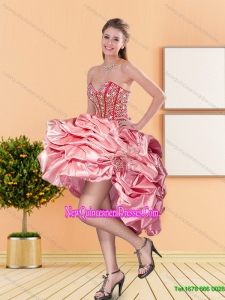 2015 Sweetheart Dama Dresses with Beading and Pick Ups