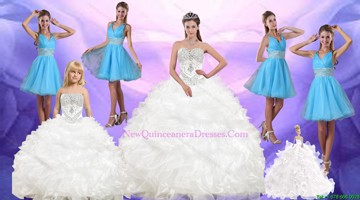 Ruffles and Beading White Quinceanera Dress and Baby Blue V Neck Dama Dresses and White Pageant Dresses for Little Girls
