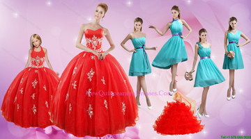 2015 Elegant Appliques Red Quinceanera Dress and Turquoise Short Dama Dresses and Halter Top Ball Gown Little Girl Dress