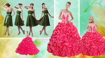 Pick Ups Ball Gown Quinceanera Dress and Strapless Ruching Short Prom Dresses and Appliques Little Girl Dress