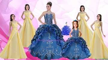 Ruffles and Beading Sweetheart Quinceanera Dress and Beading Long Dama Dresses and Halter Top Embroidery Little Girl Dress